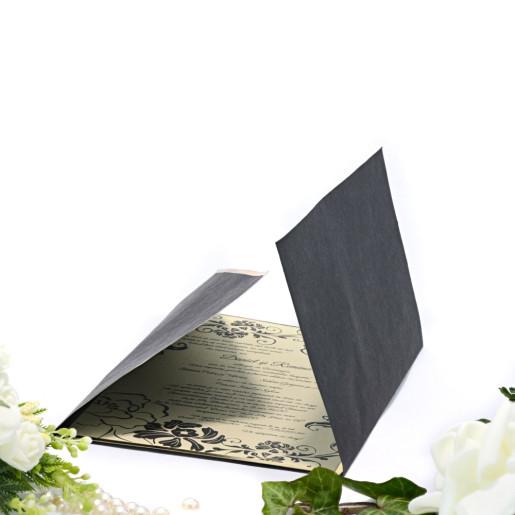 Invitatie de nunta florala crem cu negru si margine aurie 2123 TBZ