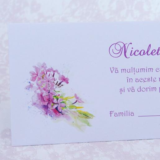 Plic pentru bani alb cu flori mov 222533 POLEN
