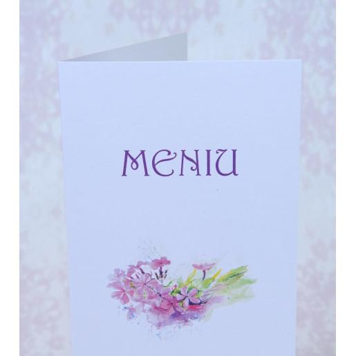 Meniu alb cu flori mov 222733 POLEN