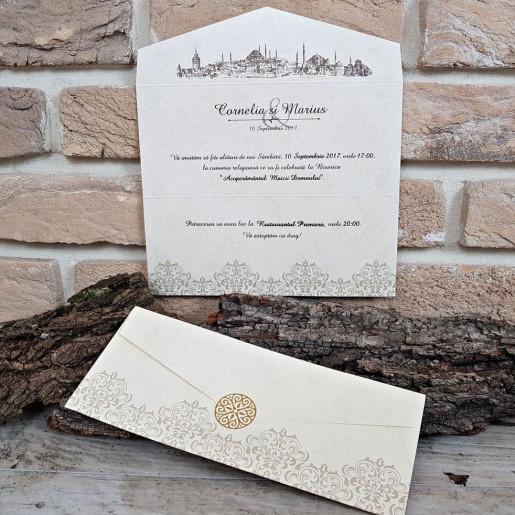 Invitatie de nunta eleganta crem 2668 POPULAR