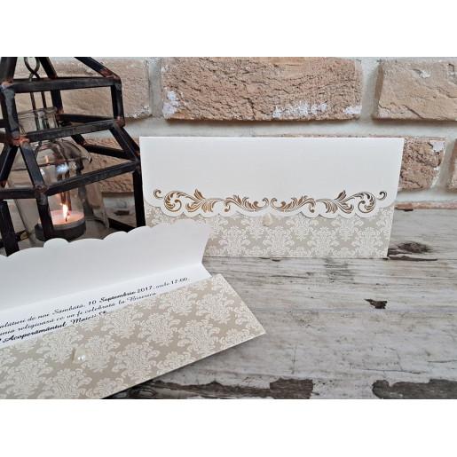 Invitatie de nunta vintage cu perla 2716 POPULAR