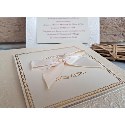 Invitatie de nunta glamour cu fundita 2733 POPULAR