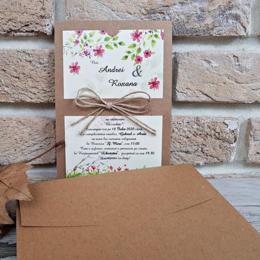 Invitatie de nunta florala cu fundita din sfoara 2766 POPULAR