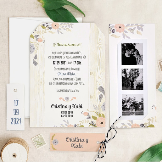 Invitatie florala cu poza tip film 39725 CLARA