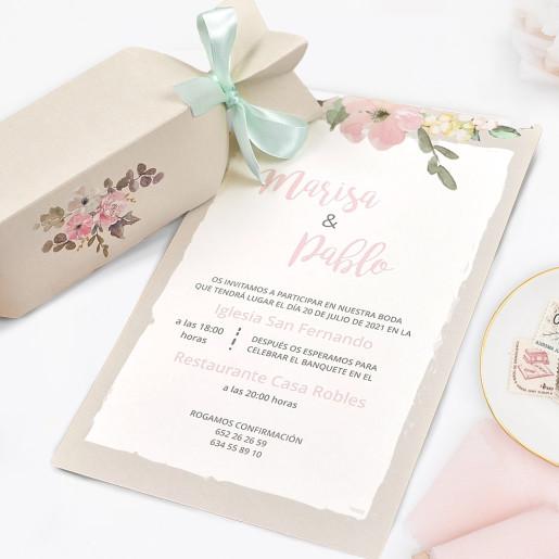 Invitatie florala tip papyrus 39726 CLARA