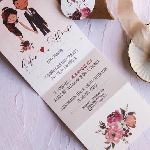 Invitatie 3D cu tema florala si dantela 39801 EMMA