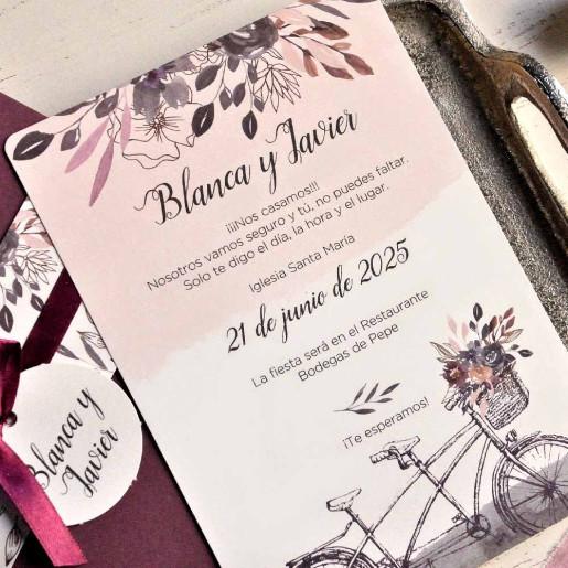 Invitatie cu model floral si fundita 39812 EMMA