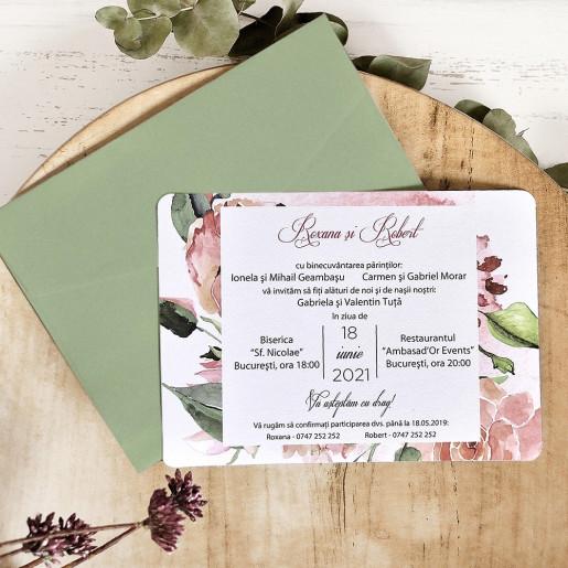 Invitatie de nunta acuarela cu trandafiri roz 39781 ECONOMIQ