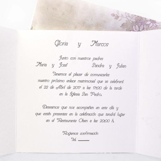 Invitatie patrata cu fluture 31307 CLARA