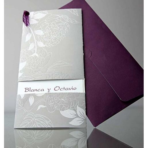 Invitatie florala cu fundita mov 34906 EMMA