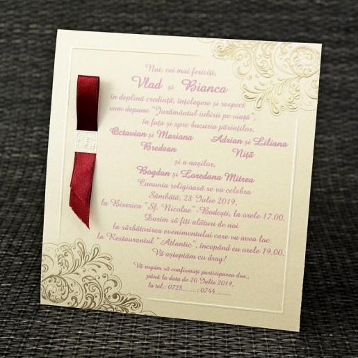 Invitatie de nunta eleganta crem 35299 Polen