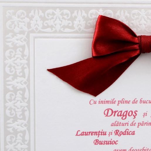 Invitatie de nunta alba cu funda rosie 20829 Polen
