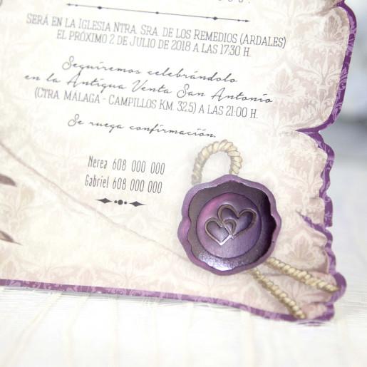 Invitatie eleganta tip pergament 39215 CLARA