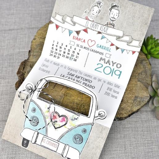Invitatie haioasa cu calendar si masina 39316 EMMA