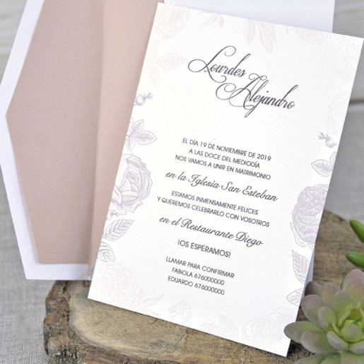 Invitatie eleganta cu dantela 39328-1 EMMA