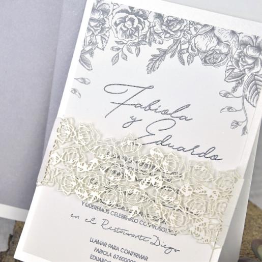 Invitatie eleganta cu dantela 39337 EMMA