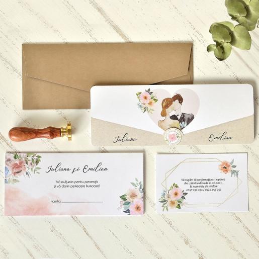 Invitatie de nunta romantica acuarela 39761 ECONOMIQ