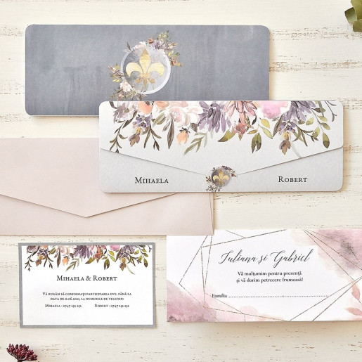 Invitatie de nunta chic cu flori 39765 ECONOMIQ