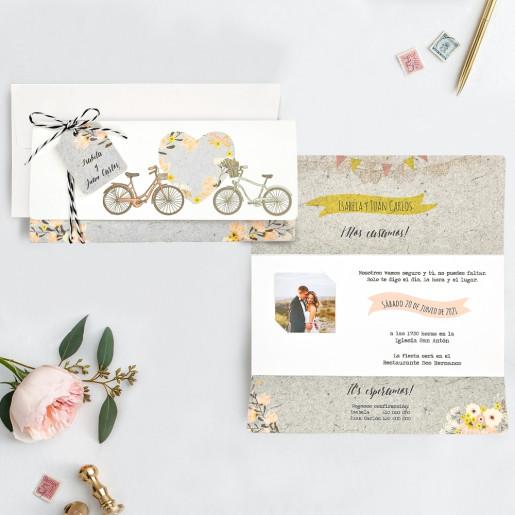 Invitatie florala cu biciclete 39717 CLARA