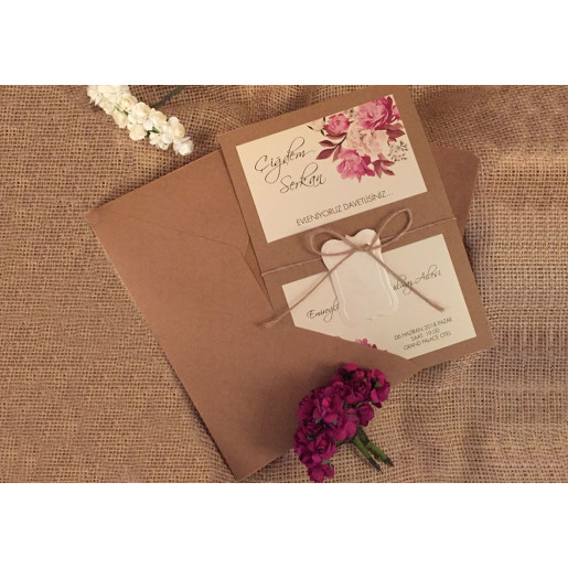 Invitatie de nunta vintage cu flori 41440 ELITE