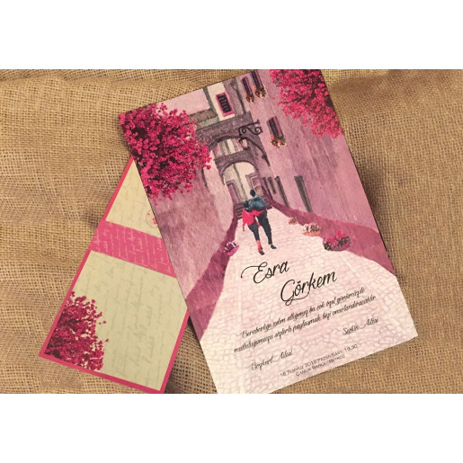 Invitatie de nunta romantica cu miri 41456 ELITE