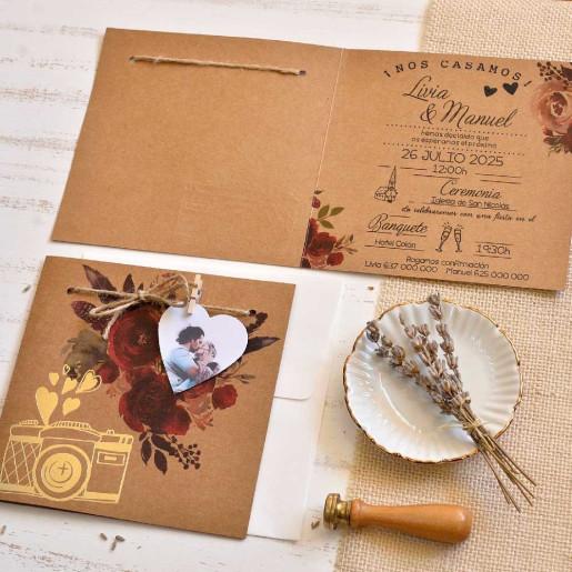 Invitatie vintage cu flori 39825 EMMA