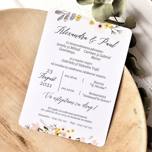 Invitatie de nunta stil hipster cu miri 39786 ECONOMIQ