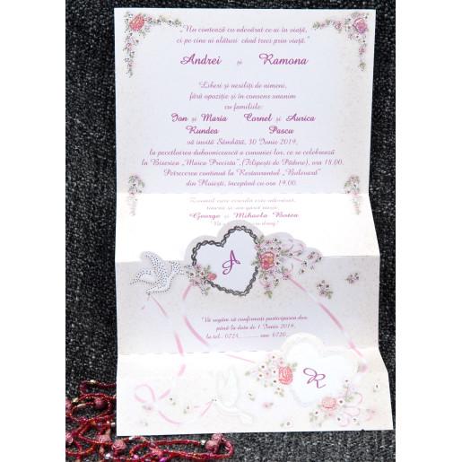 Invitatie de nunta pliabila romantica 5162 TBZ