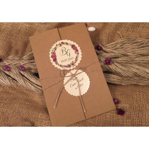 Invitatie cu motiv floral 52521 ELA