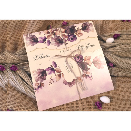 Invitatie natur cu motiv floral 52536 ELA