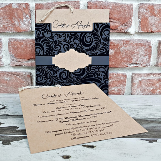 Invitatie de nunta cu plic de catifea 5577 CONCEPT