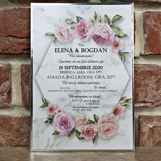 Invitatie de nunta cu model floral 5595 CONCEPT