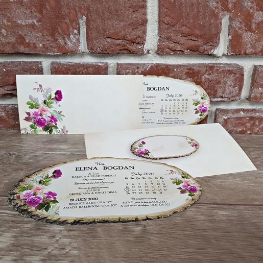 Invitatie de nunta butucel cu floricele 5607 CONCEPT