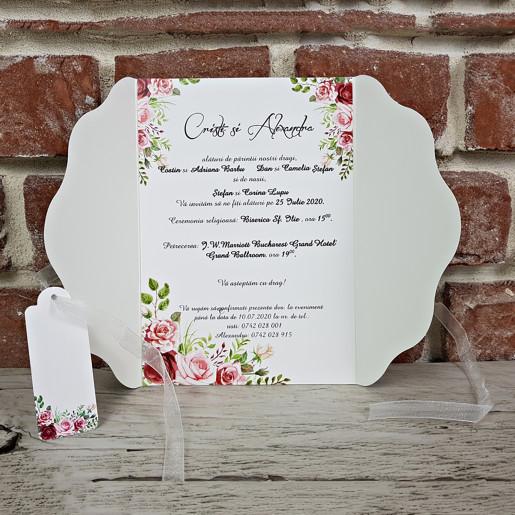 Invitatie de nunta cu panglica si flori 5629 CONCEPT