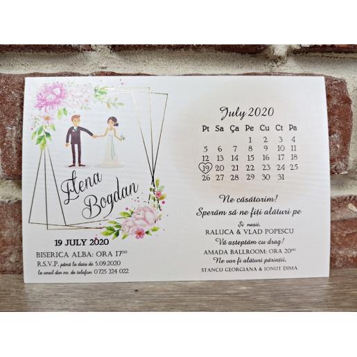 Invitatie de nunta florala cu calendar 5636 CONCEPT