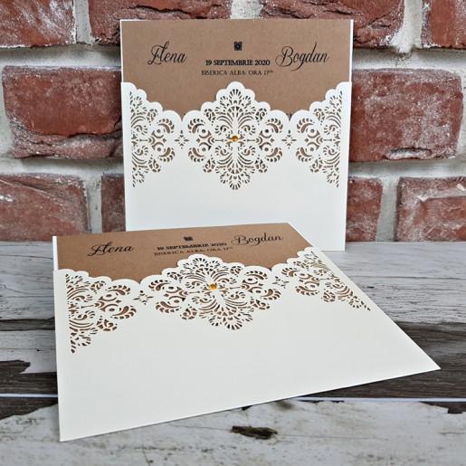 Invitatie de nunta cu decupaje dantelate 5642 CONCEPT