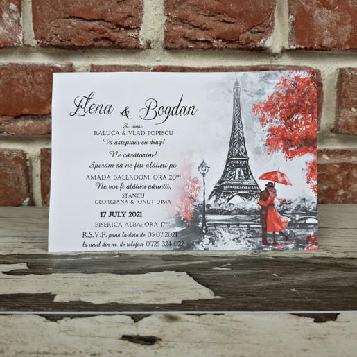 Invitatie de nunta calendar cu tema Paris Turnul Eiffel 5643 CONCEPT
