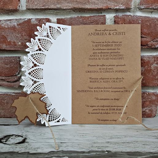 Invitatie de nunta rustica cu frunza 5644 CONCEPT