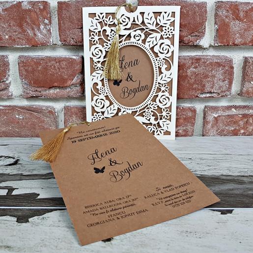 Invitatie de nunta cu decupaje florale 5646 CONCEPT