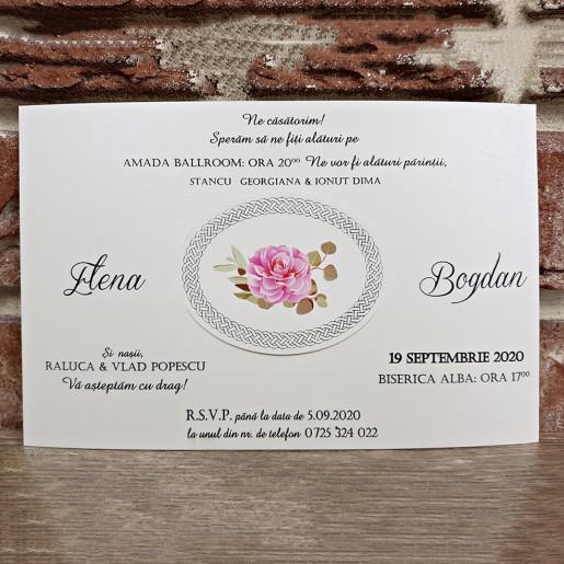 Invitatie de nunta cu bujori si trandafiri 5656 CONCEPT