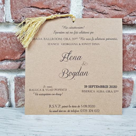 Invitatie de nunta cu flori aurii 5665 CONCEPT