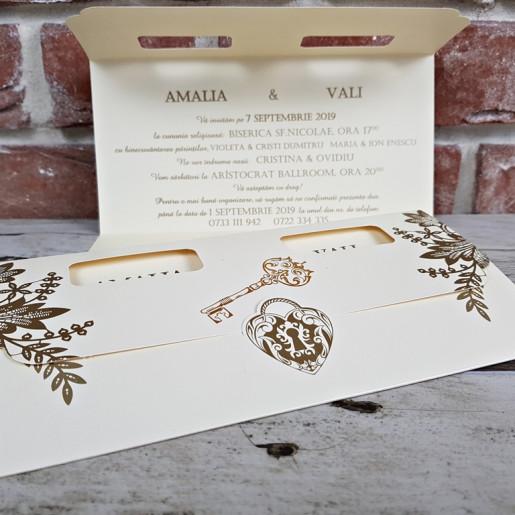 Invitatie de nunta cu lacat si cheie 5668 CONCEPT