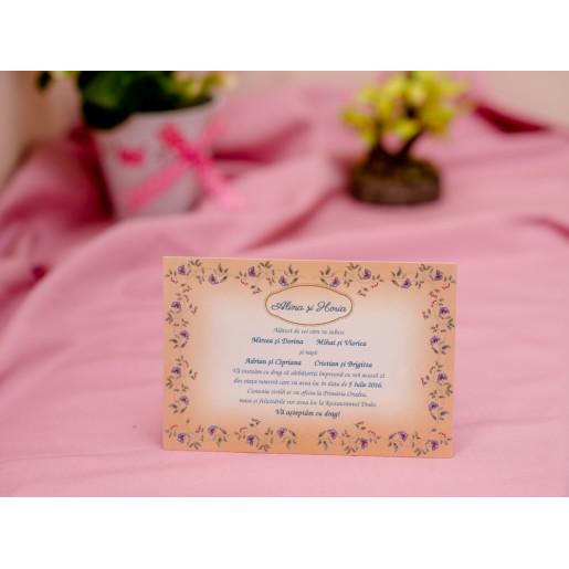 Invitatie de nunta vintage cu rama florala 602 PUBLISERV