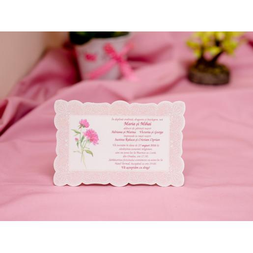 Invitatie de nunta roz dantelata 611