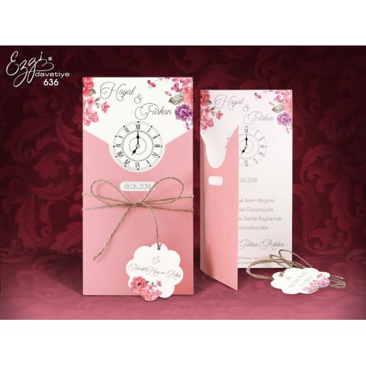 Invitatie de nunta roz cu ceas 636