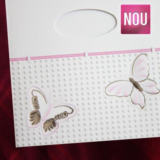 Invitatie de nunta cu fluturi roz 131043 TBZ