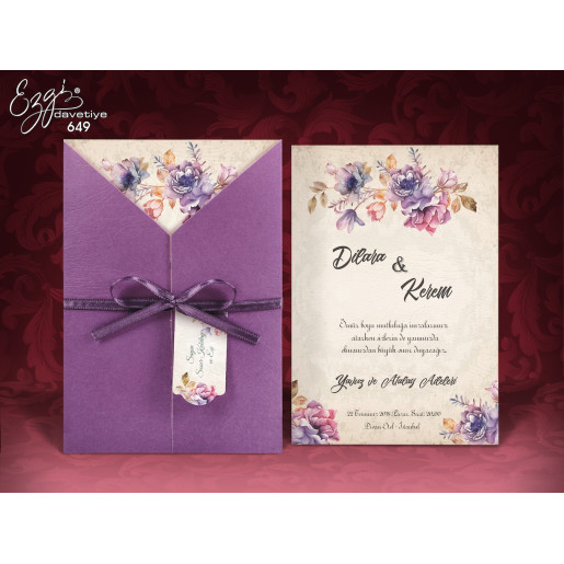 Invitatie de nunta cu flori mov 649