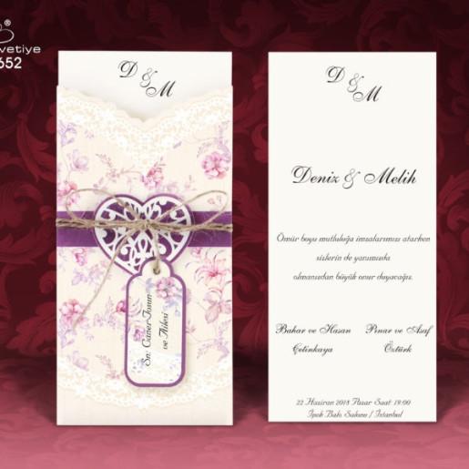 Invitatie de nunta cu model floral si inima 652