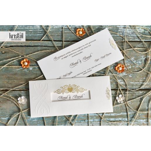 Invitatie de nunta eleganta crem cu auriu 70106 KRISTAL