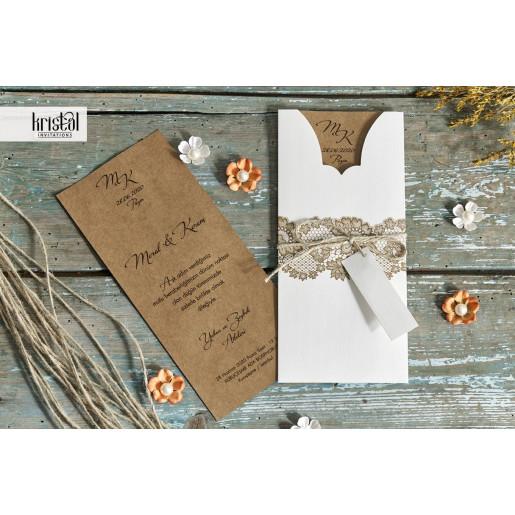Invitatie de nunta vintage florala cu sfoara 70215 KRISTAL